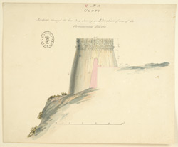 Section through the Gooty fort showing an elevation of one of the ornamental towers